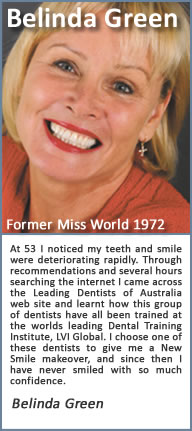 At 53 I noticed my teeth and smile were deteriorating rapidly. Through recommendations and several hours searching the internet I came across the Cosmetic Dentists of Parramatta web site and learnt how this group of dentists have all been trained at one of Americas Premier Dental Training Institutes, the Las Vegas Institute of advanced dental studies. I chose one of these CDA dentists to give me a New Smile makeover, and since then I have never smiled with so much confidence. My new smile changed my life…. I did it….. Why don't you.?.